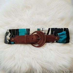 Boutique Fabric Leather Belt Size Small